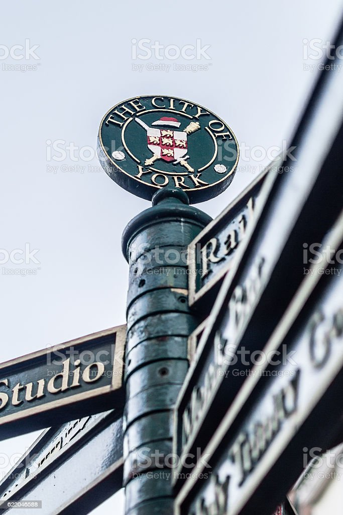 Tourist Sign posts in City of York England stock photo