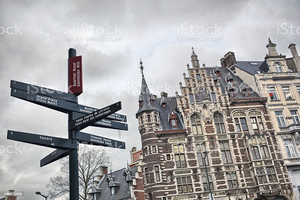 Tourist signpost in center of Brussels, Belgium stock photo