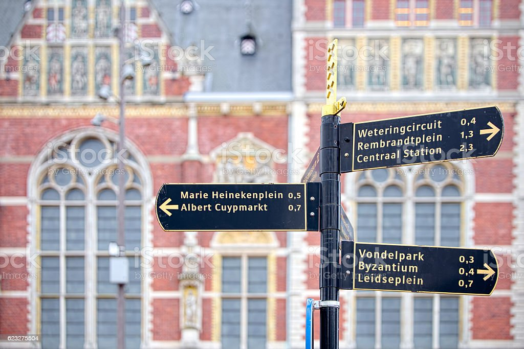 Tourist signs out of the station in Amsterdam stock photo