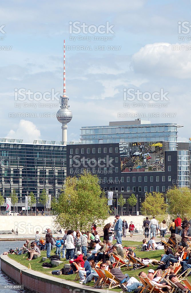 Tourist sitting in cafe on the Spree River - Berlin stock photo