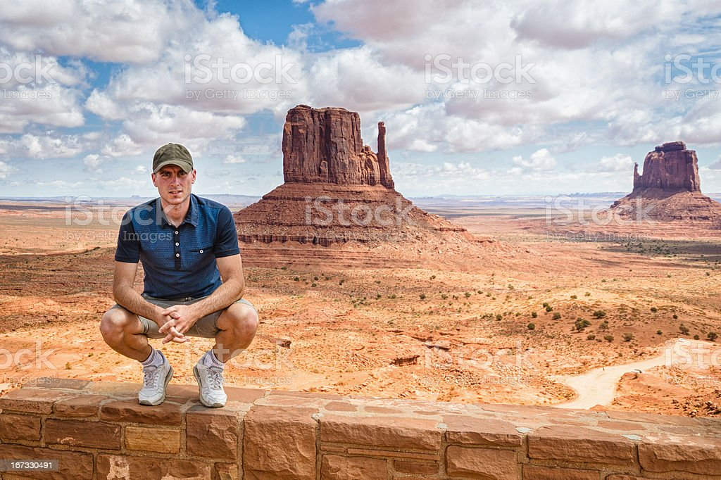 Tourist standing on tribal navajo National park stock photo