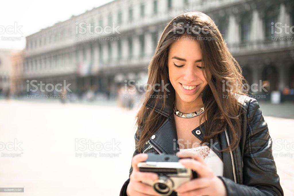 tourist take a picture in venice stock photo