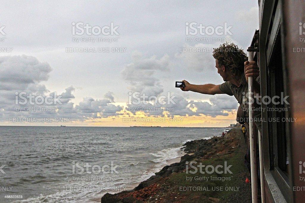 Tourist takes photo royalty-free stock photo