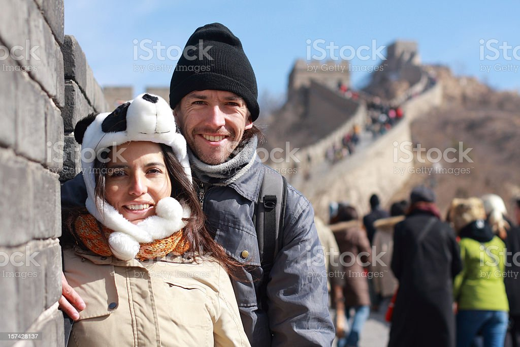 tourist taking picture on the great wall royalty-free stock photo