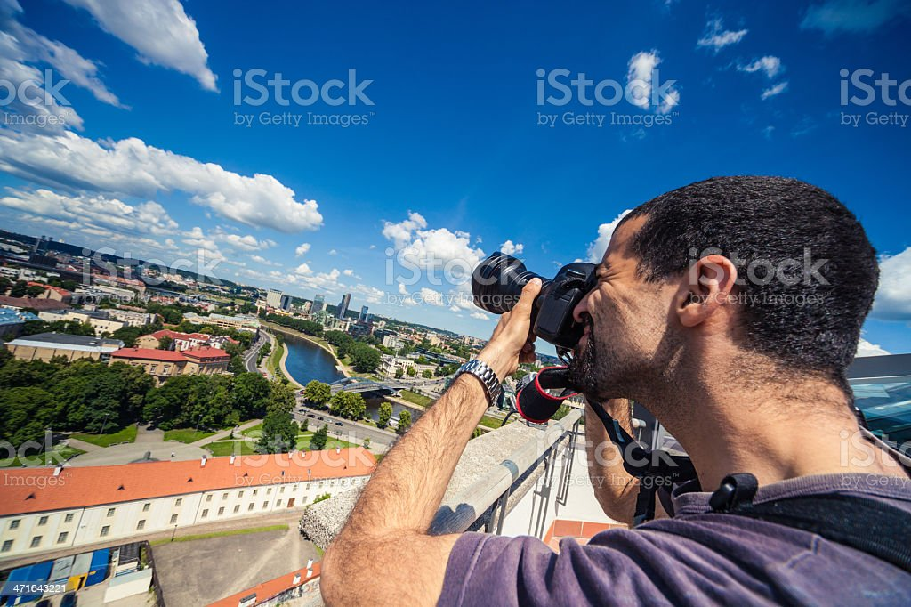 Tourist taking pictures in Vilnius royalty-free stock photo