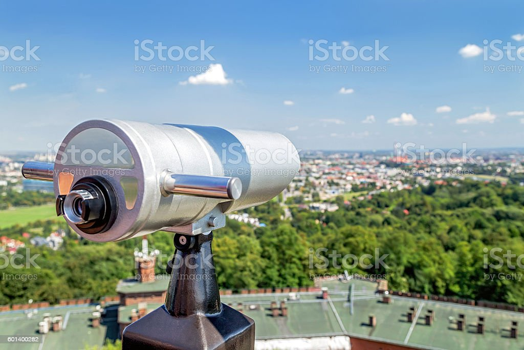 Tourist telescope for landscape exploring in Krakow (Cracow). Poland. stock photo