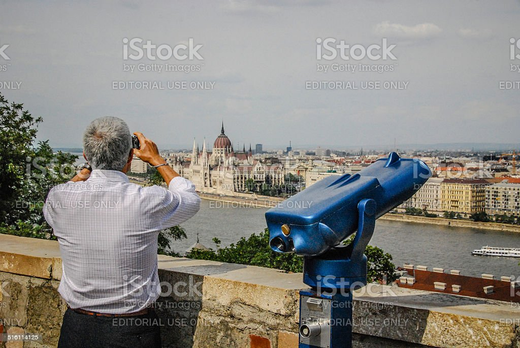 Tourist Telescope with Budapest in Background. stock photo