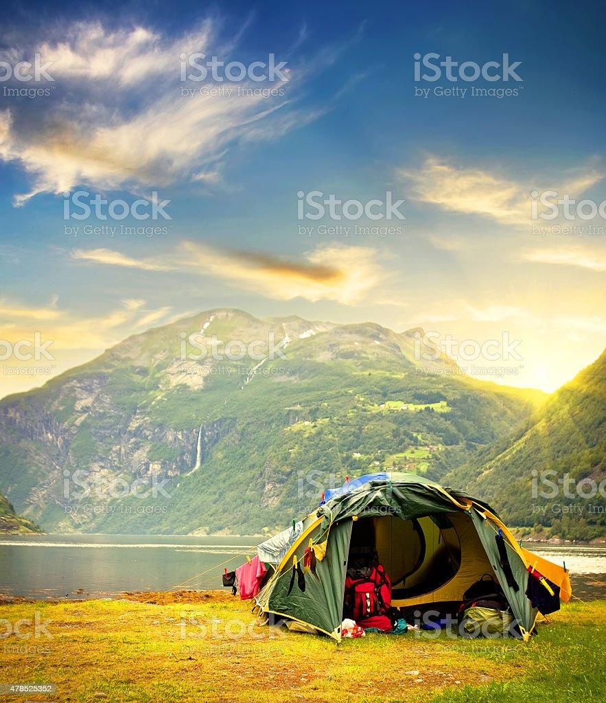Tourist tent in Norway mountains stock photo