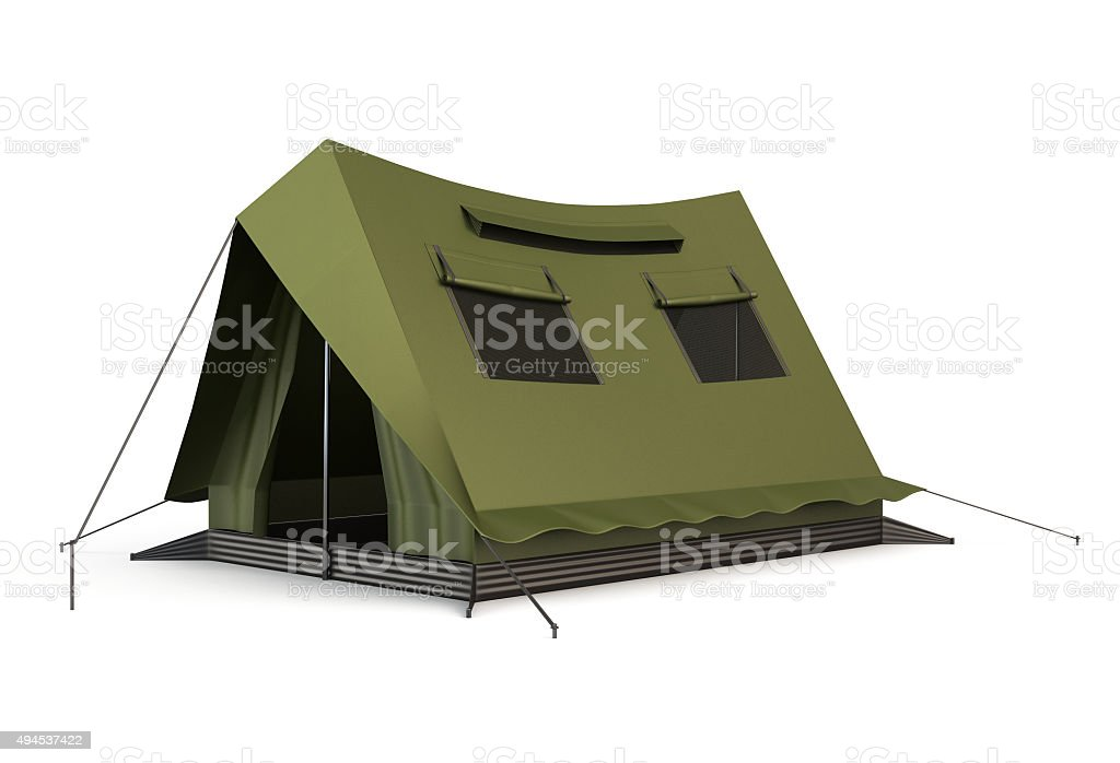 Tourist tent isolated on a white stock photo