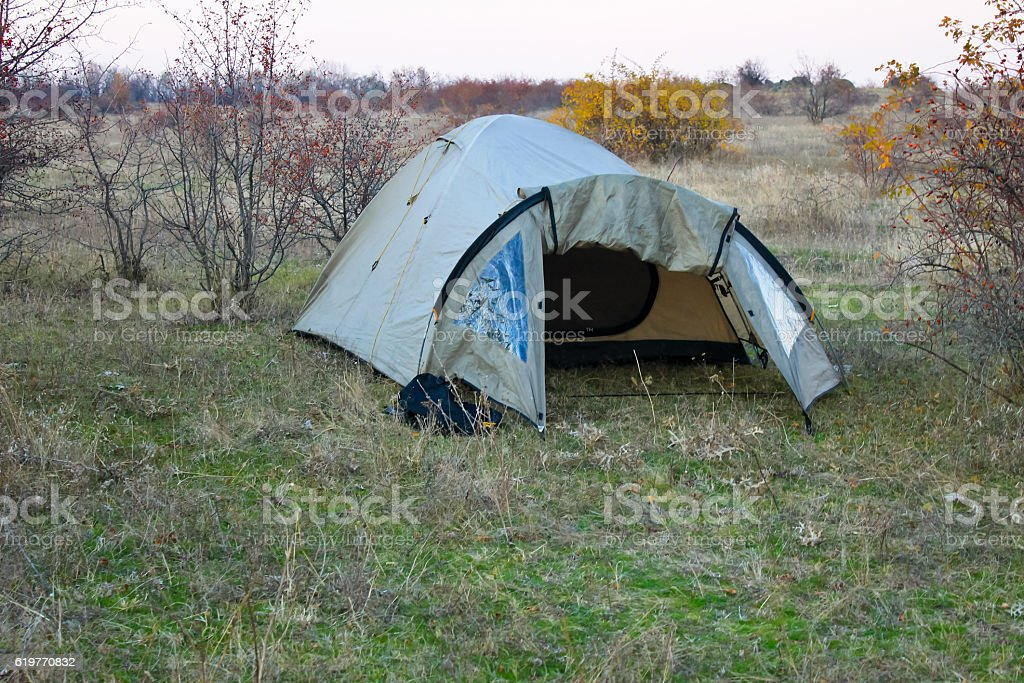Tourist tent on the lawn in forest stock photo