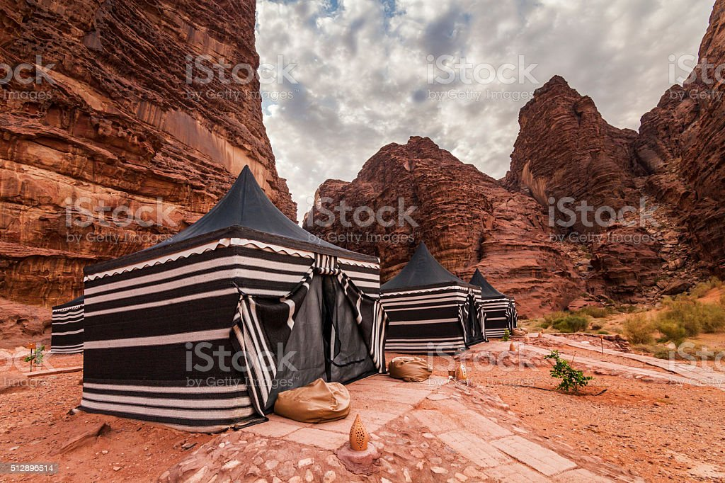 Tourist tents in Wadi Rum dessert. Jordan. stock photo