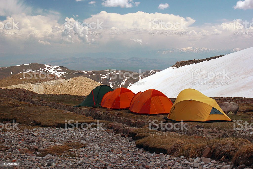 Tourist tents on slopes of Erciyes mountain, central Turkey stock photo