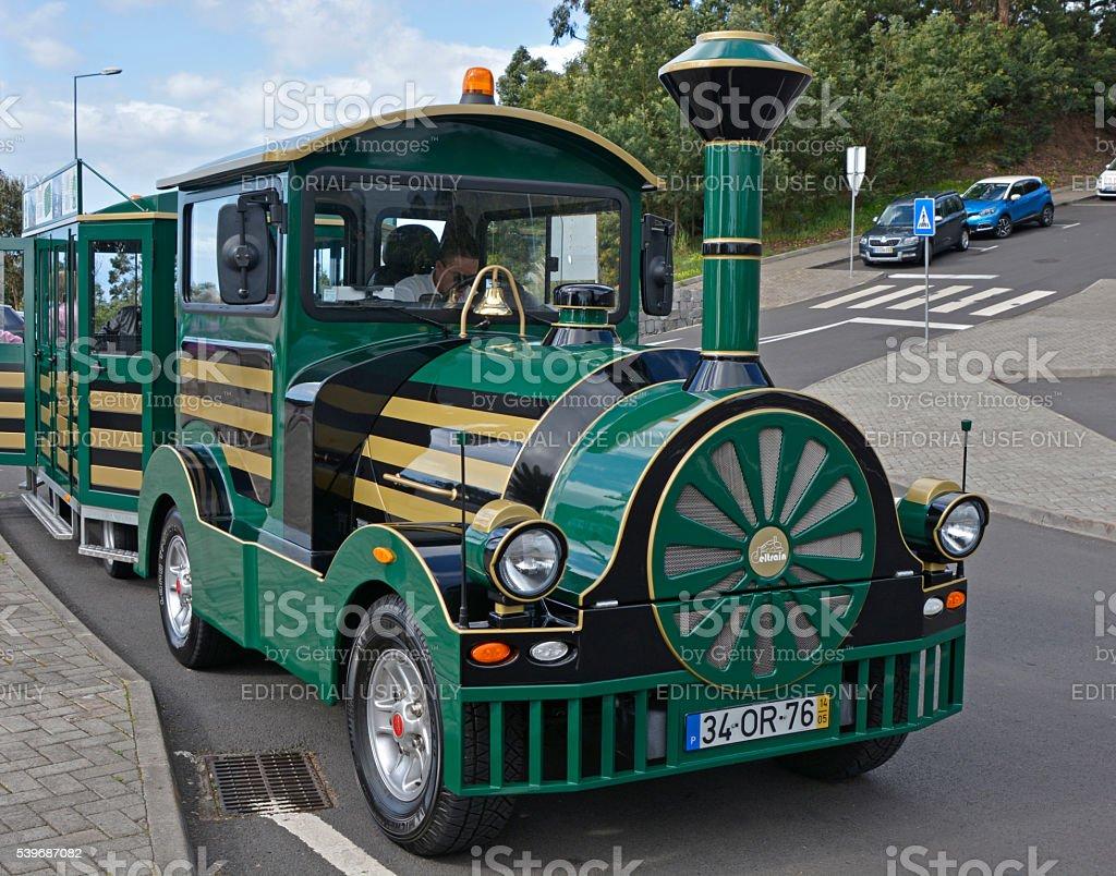 Tourist train at Cabo Girao, Madeira, Portugal stock photo