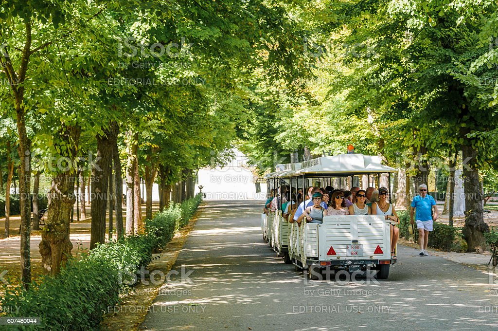Tourist train in Aranjuez stock photo