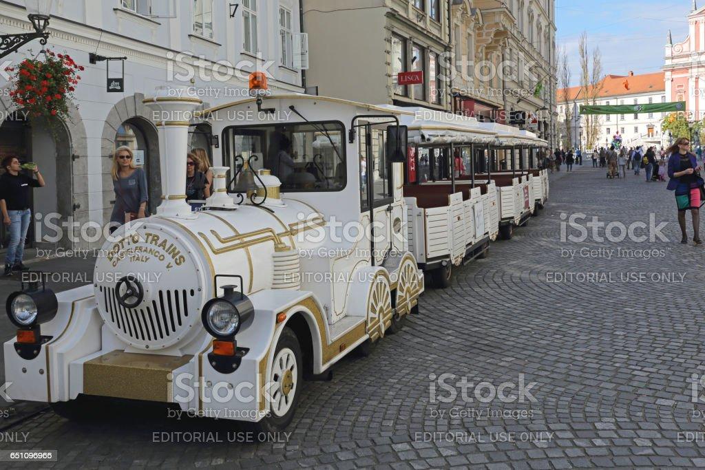 Tourist Train Ljubljana stock photo
