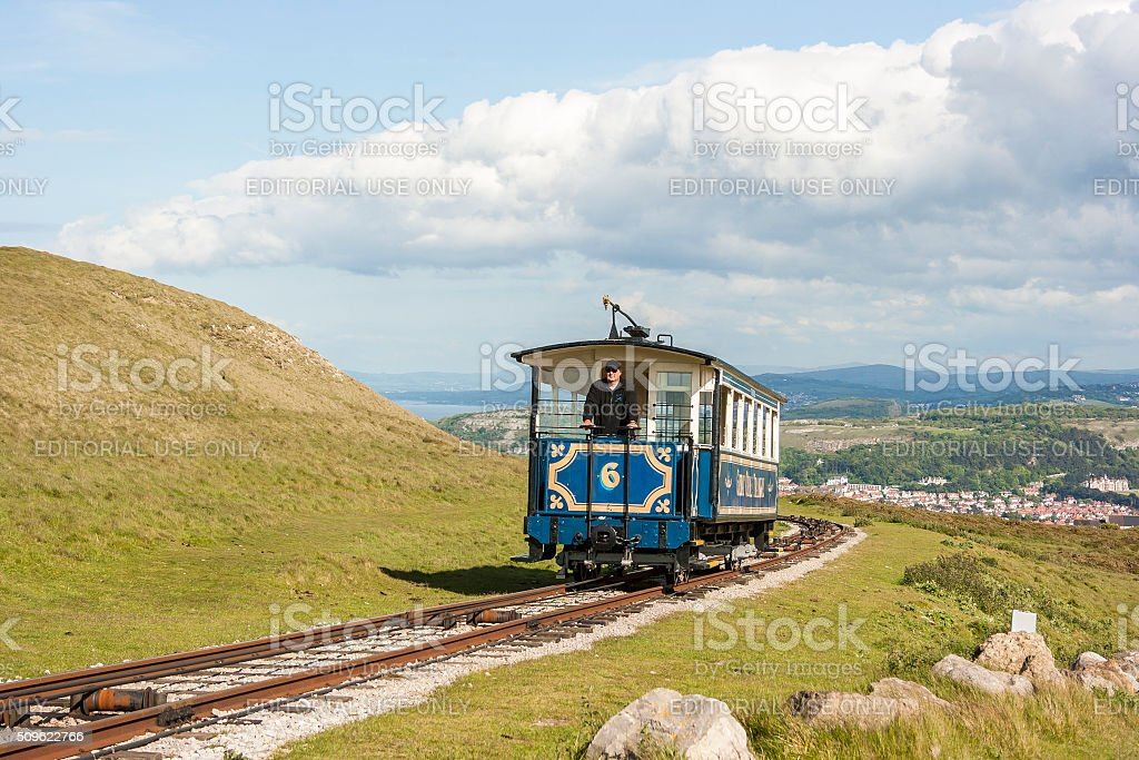 Tourist tram approaching the summit of the Great Orme Llandudno. stock photo