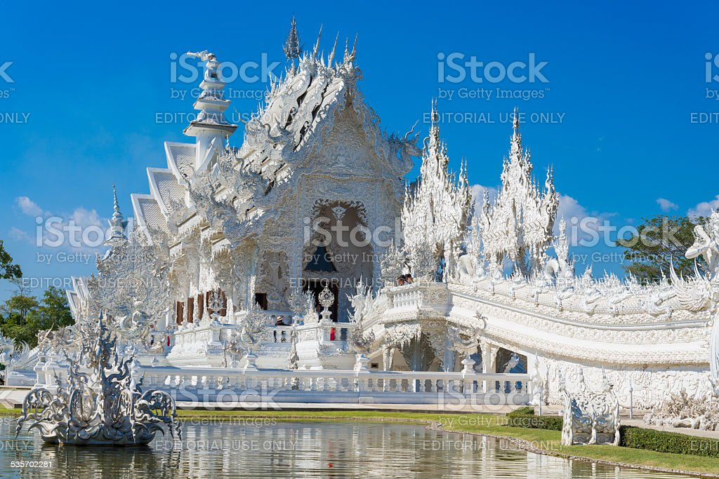 tourist travel at Wat Rong Khun stock photo