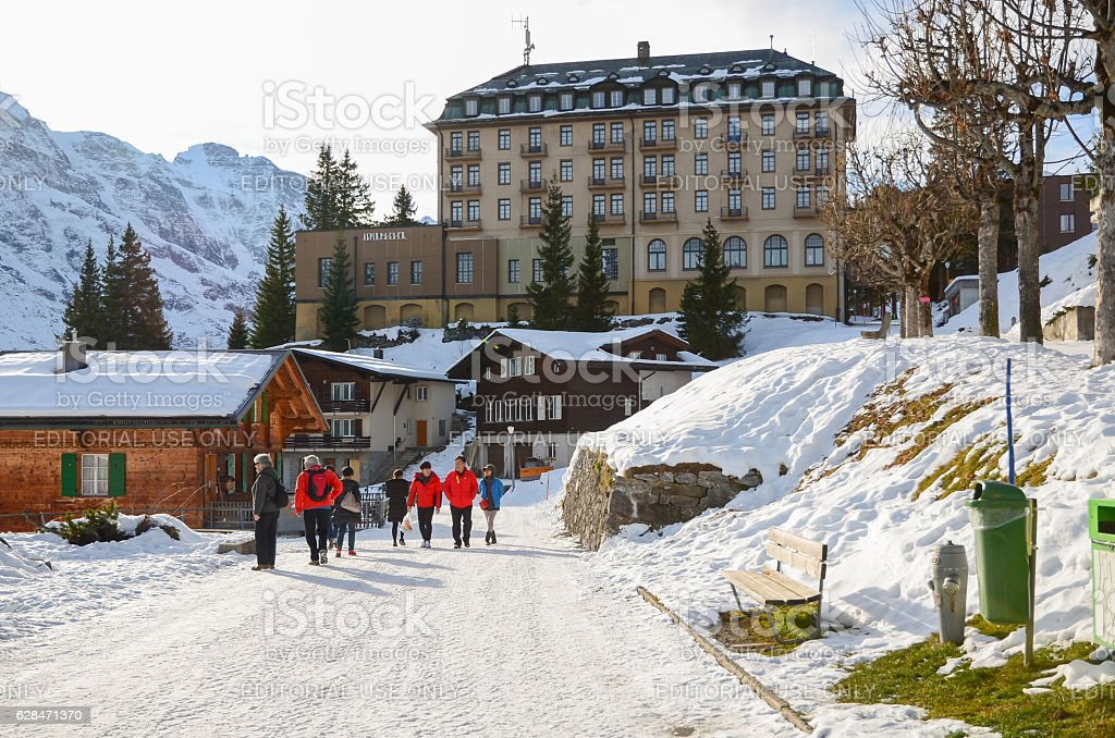 Tourist travel in Murren Village in winter stock photo