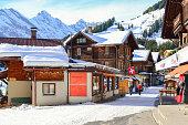 Tourist travel in Murren Village in winter