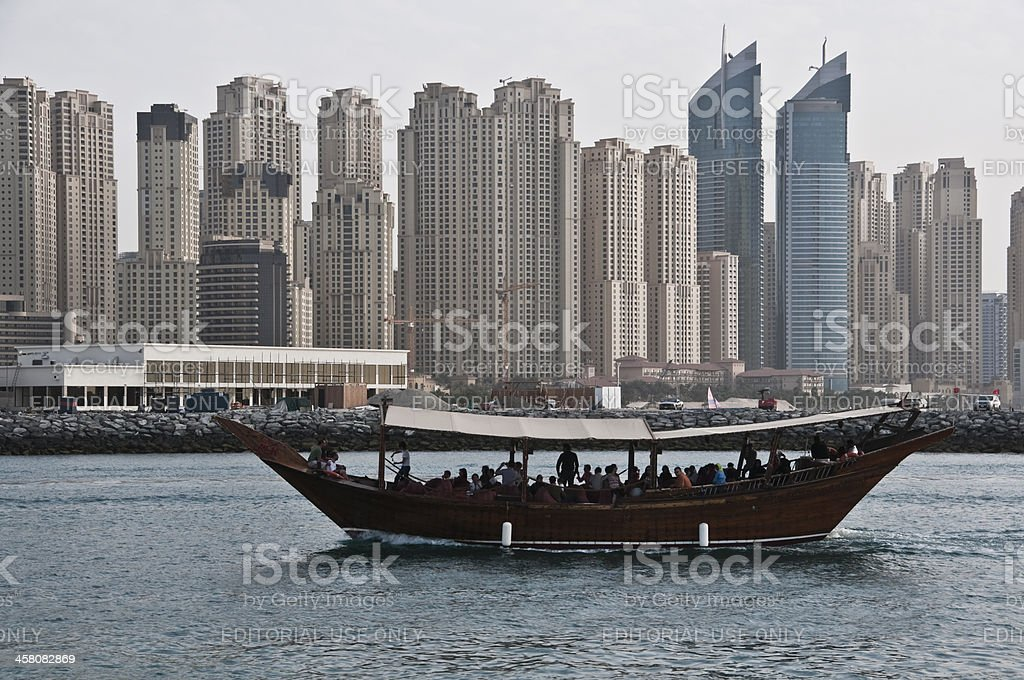 Tourist travelling on ferry boat in Dubai Marina royalty-free stock photo