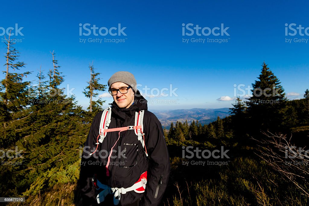 Tourist trekking in Beautiful Beskidy mountains stock photo