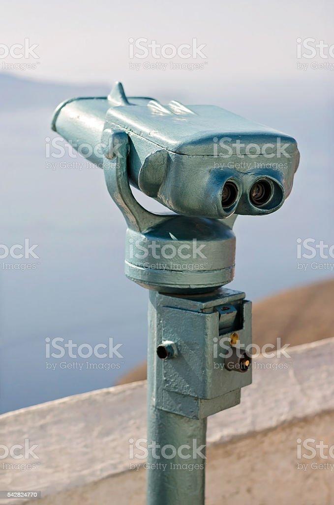 Tourist viewfinder on Santorini Island in Greece stock photo