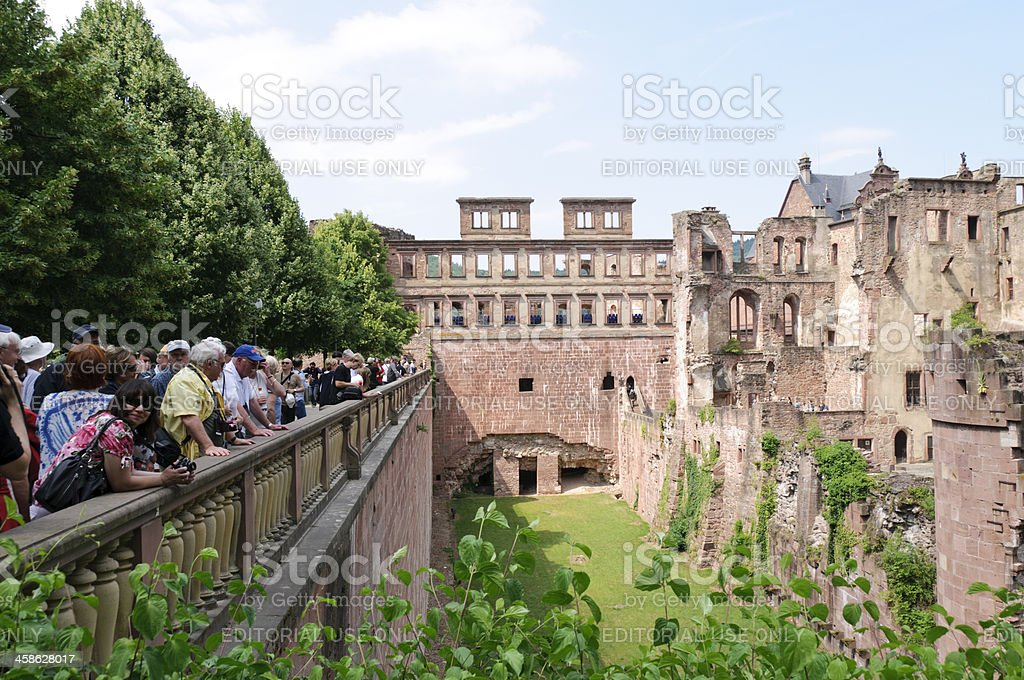 Tourist viewing ruins of Heidelberg Castle stock photo