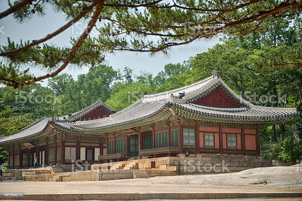 Tourist visit at Changdeokgung palace, built of the Joseon Dynasty stock photo