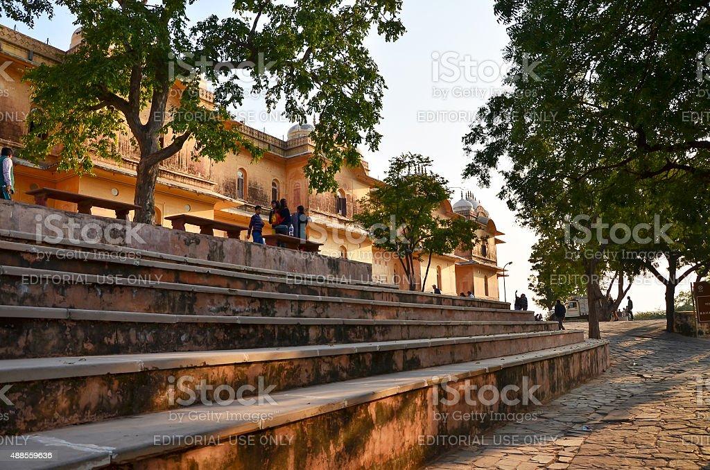 Tourist visit Nahargarh Fort in Jaipur, stock photo