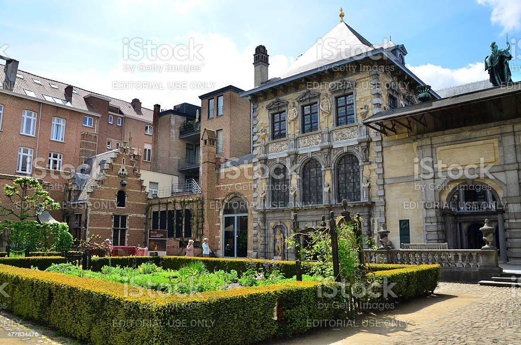 Tourist visit Rubenshuis (Rubens House) in Antwerp. stock photo