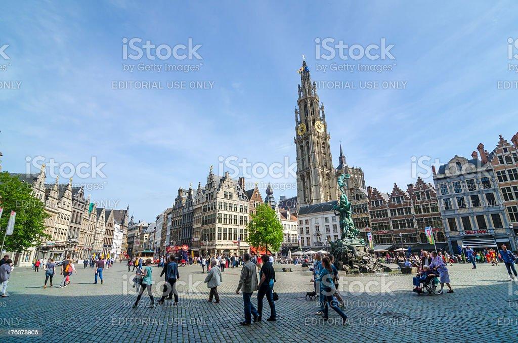 Tourist visit The Grand Place in Antwerp, Belgium. stock photo