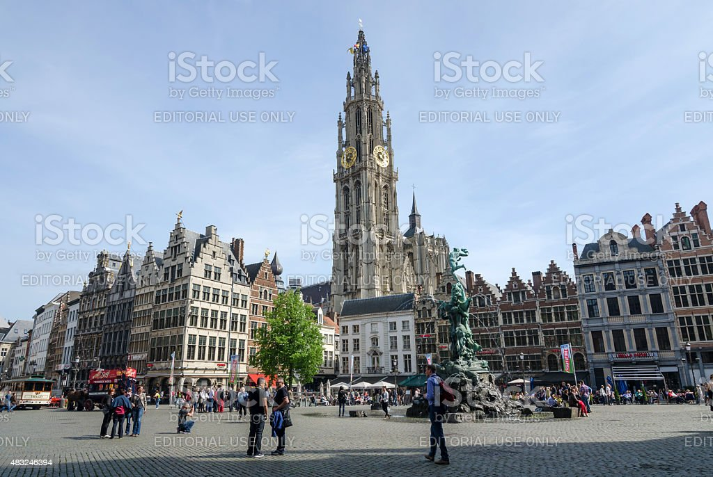 Tourist visit The Grand Place in Antwerp stock photo