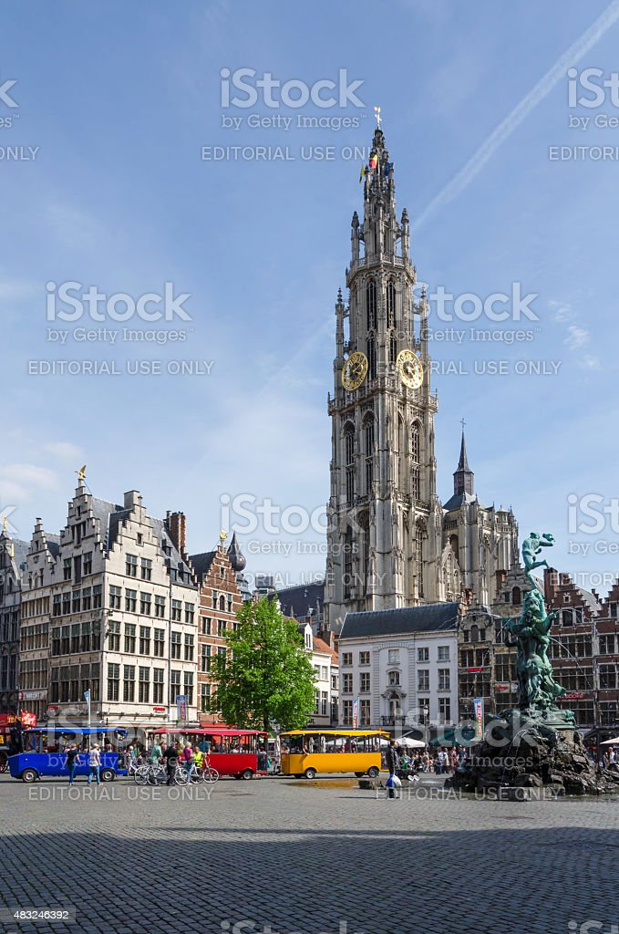 Tourist visit The Grand Place with the Statue of Brabo stock photo
