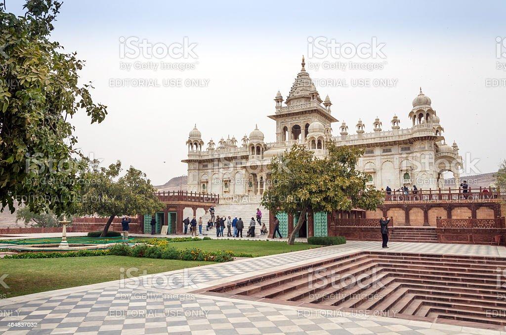 Tourist visit The Jaswant Thada mausoleum stock photo