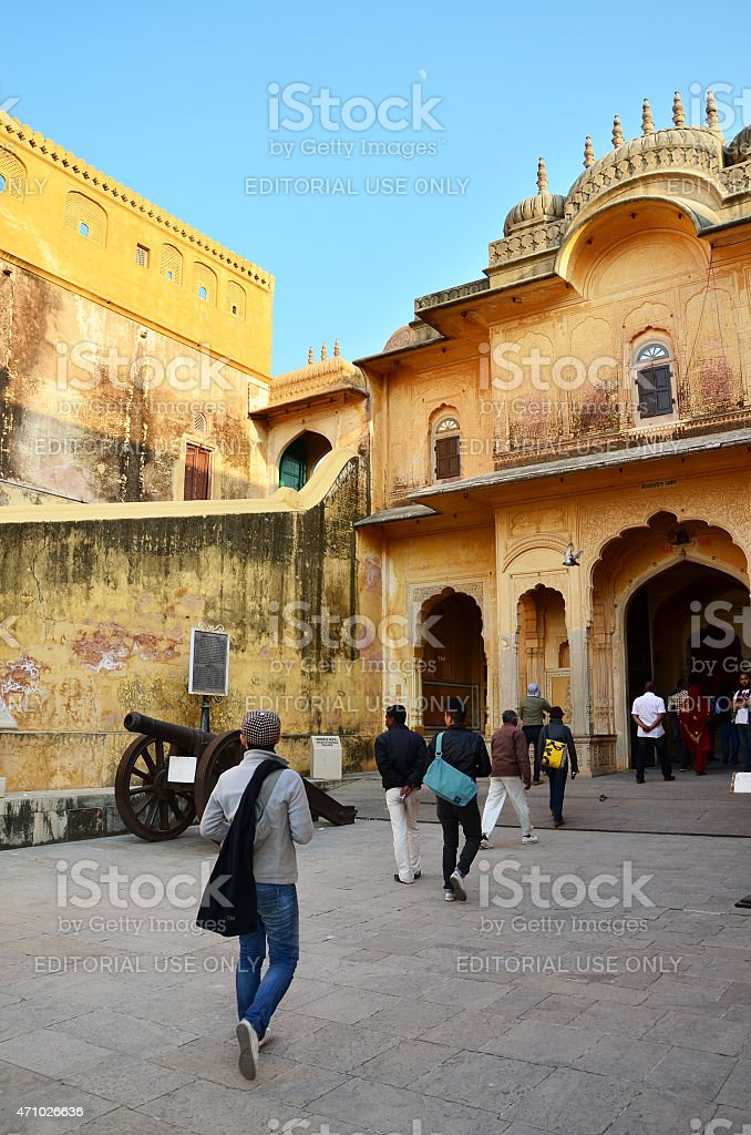 Tourist visit Traditional architecture, Nahargarh Fort in Jaipur stock photo