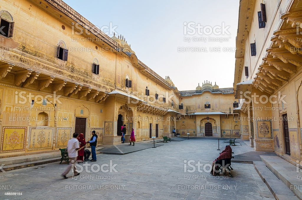 Tourist visit Traditional architecture, Nahargarh Fort in Jaipur, stock photo