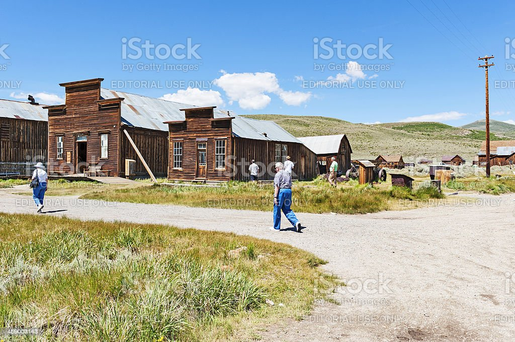 Tourist visiting Bodie Ghost Town stock photo