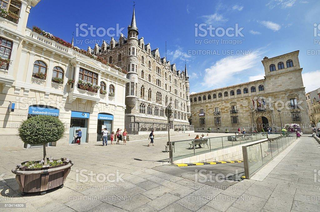 Tourist visiting Botines Palace and Guzmanes stock photo
