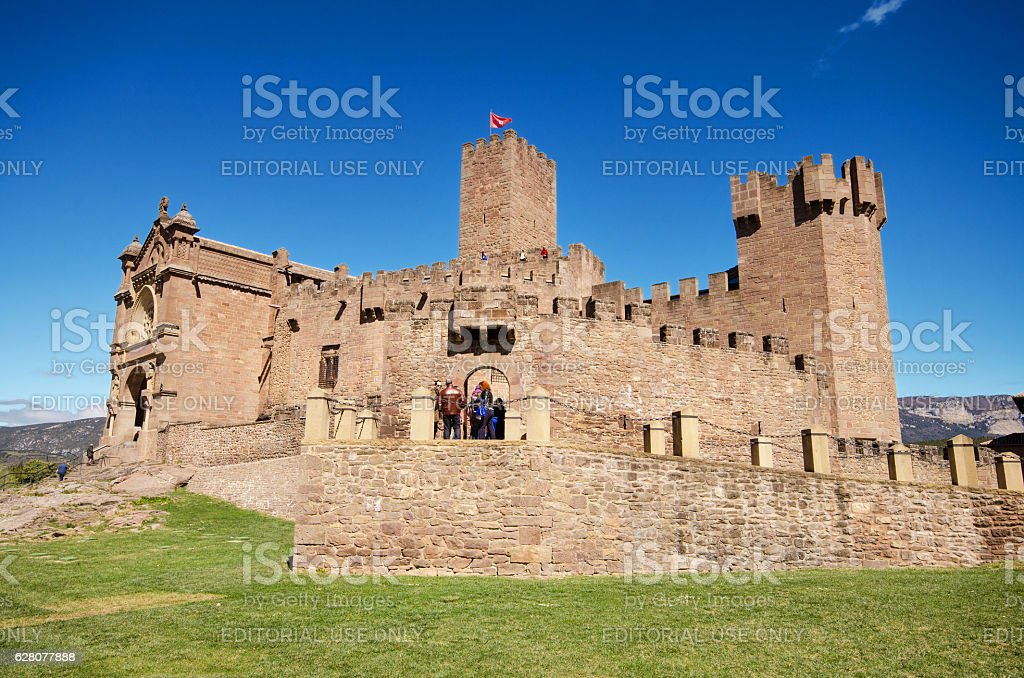 Tourist visiting famous Javier Castle in Navarra, Spain. stock photo