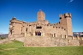 Tourist visiting famous Javier Castle in Navarra, Spain.