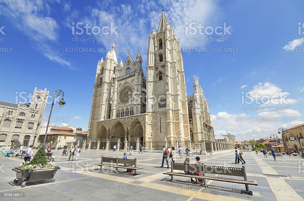 Tourist visiting famous landmark Leon Cathedral, Spain. stock photo