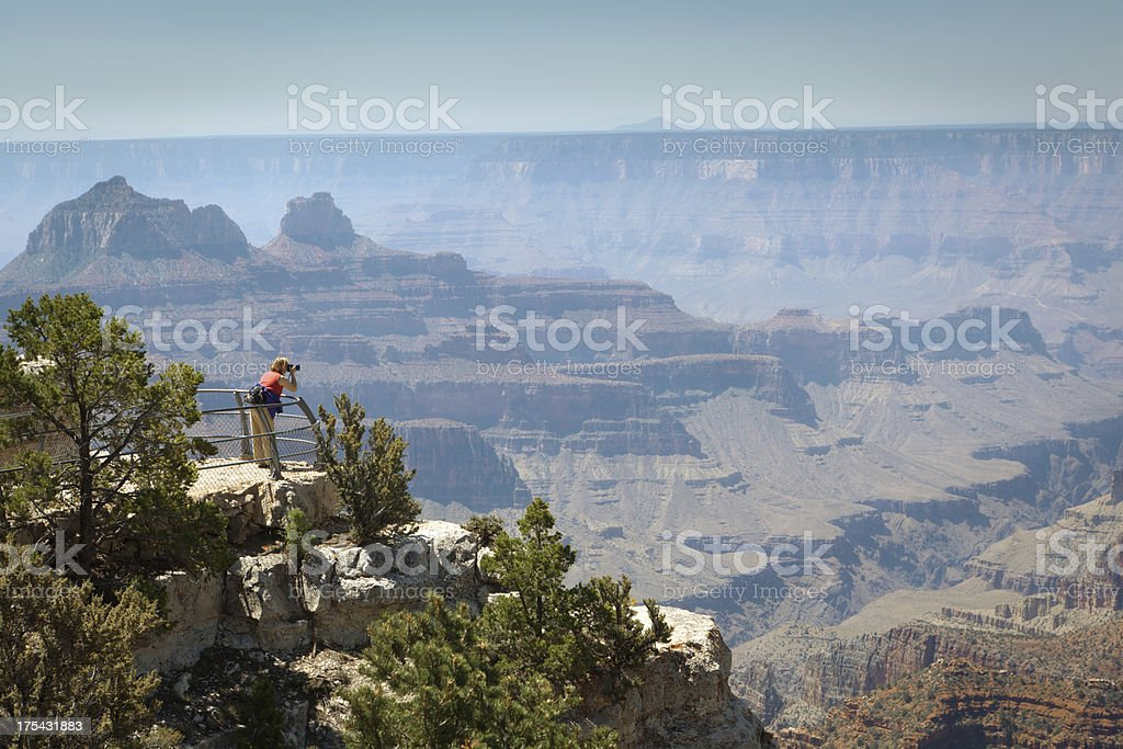 Tourist Visiting North Rim Bright Angel Point of Grand Canyon stock photo
