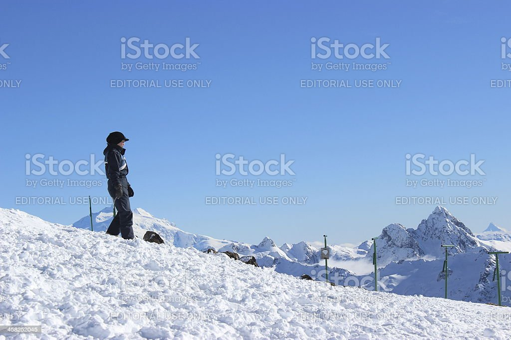 Tourist walking at the peak of Andes mountains- Patagonia Argentina royalty-free stock photo