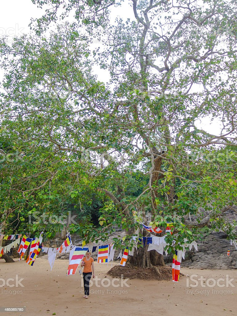 Tourist walking from Bodhi tree in  Mihintale, Sri Lanka stock photo