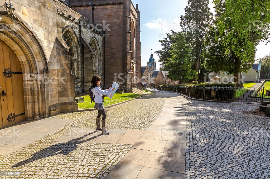 Tourist walking in historic Stirling stock photo