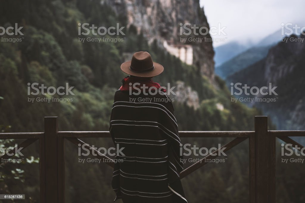 Tourist watching scenic view of mountains stock photo