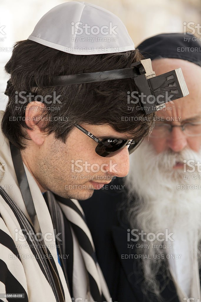 Tourist Wearing Phylacteries stock photo