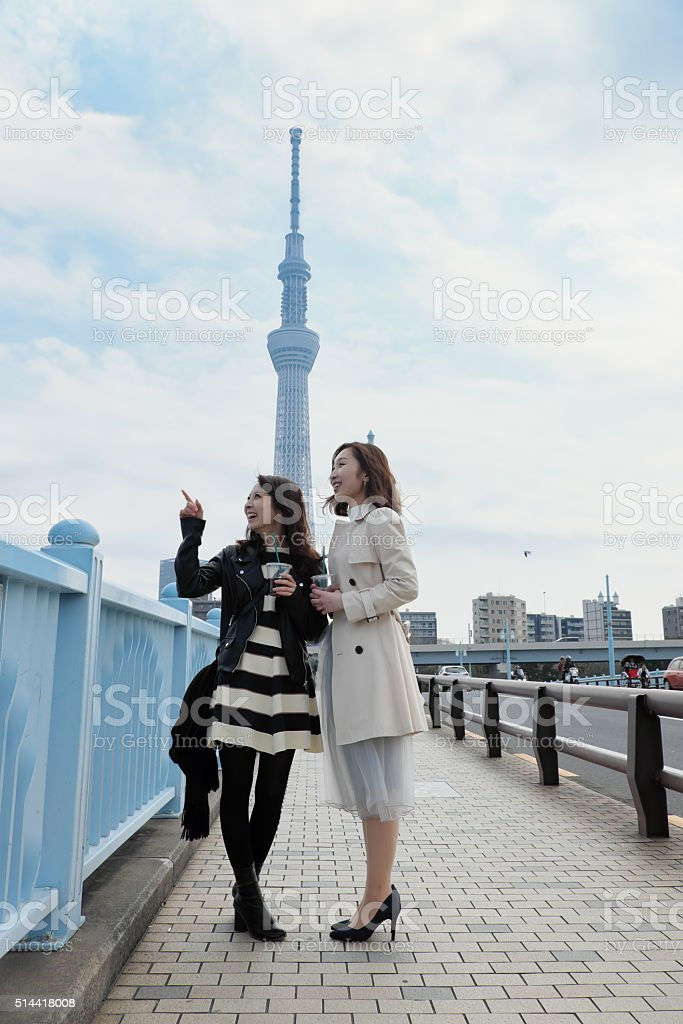 Tourist who watches scenery on a bridge stock photo