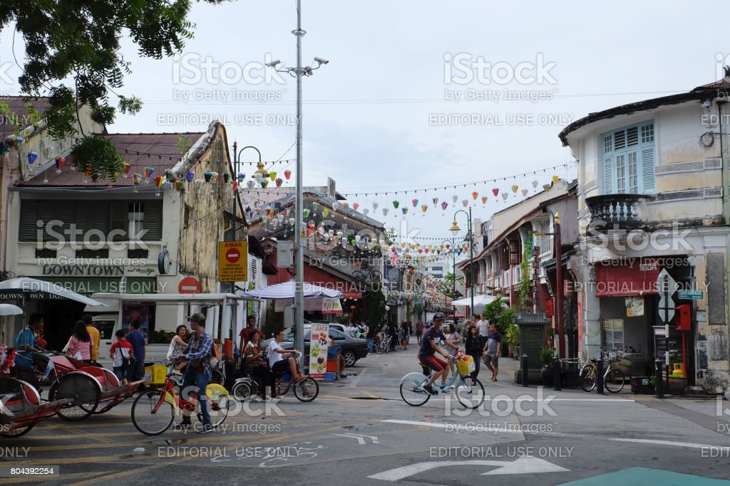 Tourist with activity at walking street in old town of George Town, Penang on 4 June 2017 in George Town stock photo
