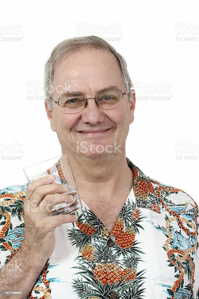 Tourist with empty glass stock photo